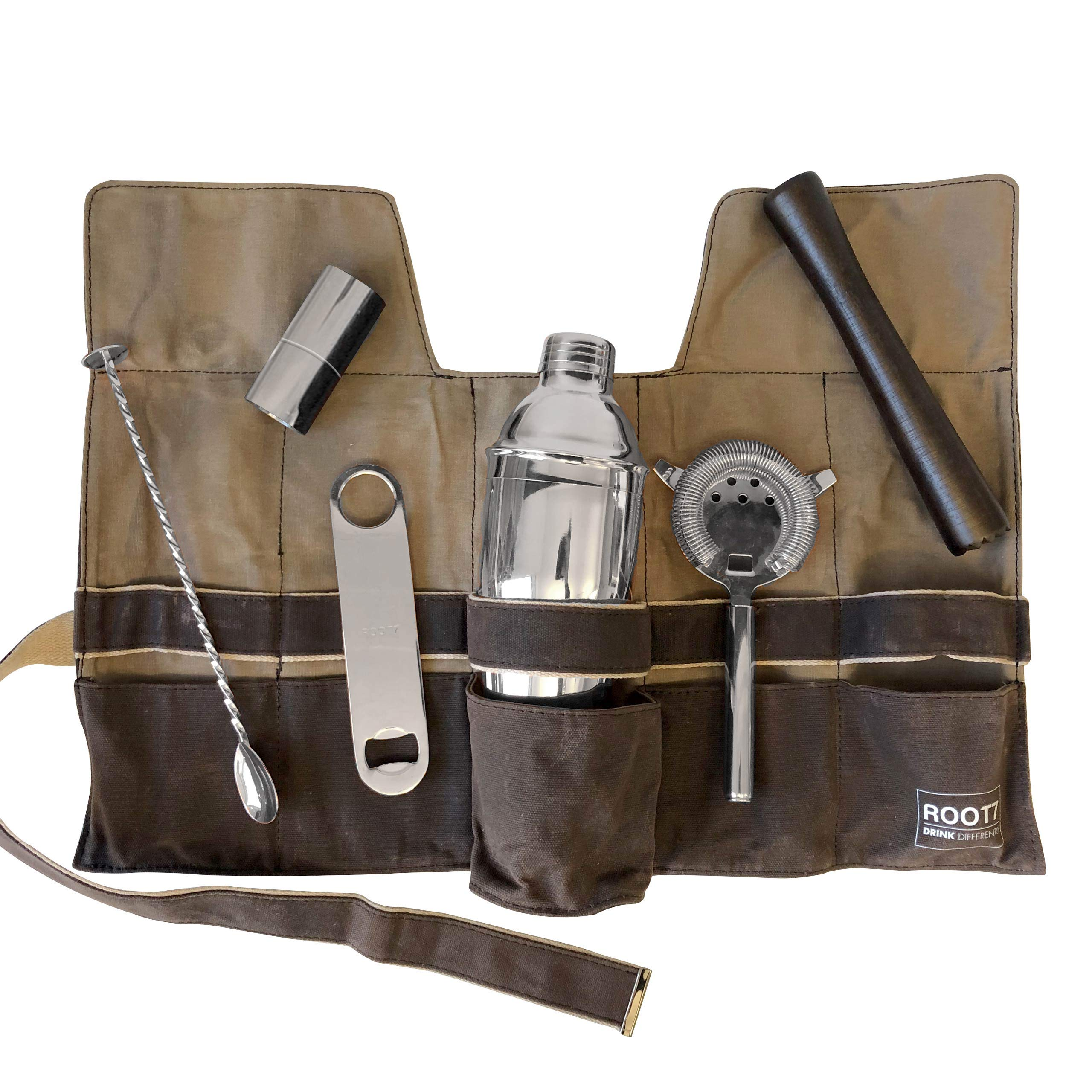 Premium Modern Silver Coated Professional Bartender Kit, Home and Workplace Cocktail Set, 19oz Shaker, Bar Blade, Jigger, Wood Muddler, Strainer, Spoon and Wax Canvas Bag by Root7