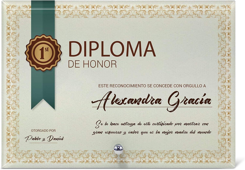 LolaPix Diploma Personalizado Profesor y Profesora con el Nombre del Maestro o Maestra y Sus Alumnos | En Cristal Biselado 13x18 cm | Regalo Original Fin de Curso | Varios diseños |