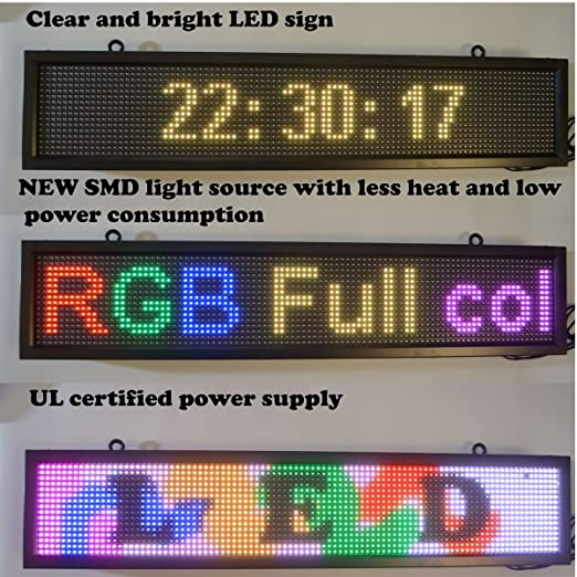 Electronic Components & Supplies Sporting 39x7.5 Inch Full-color Rgb Led Sign Usb Programmable Rolling Information P10 Indoor Led Display Screen Optoelectronic Displays