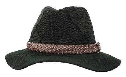 5f0deaf17d RPI Black Woven Knit Floppy Brim Panama Fedora Hat Cap, Faux Leather  Braided Hatband