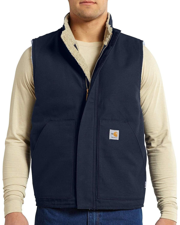 Carhartt Men's Flame Resistant Mock Neck Sherpa Lined Vest,Dark Navy,Large by Carhartt