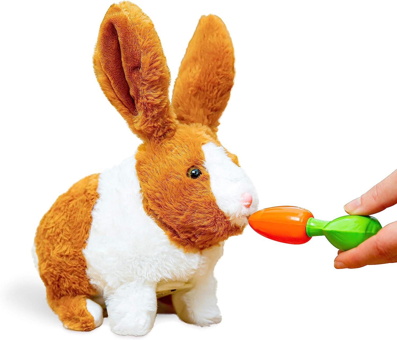 Think Gizmos Juguete Interactivo Tipo Conejito para Niños y Niñas de 3 4 5 6 7 8 años – Juguete Electrónico con Sonidos y Movimiento – Animales de Juguete Realistas Tipo Mascota de Peluche - TG813