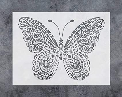 GSS Designs Butterfly Wall Decor Stencil - Mandala Butterfly Stencil (12x16  Inch) Painting on Floor Wall Fabric Furniture Wood Stencils -Reusable