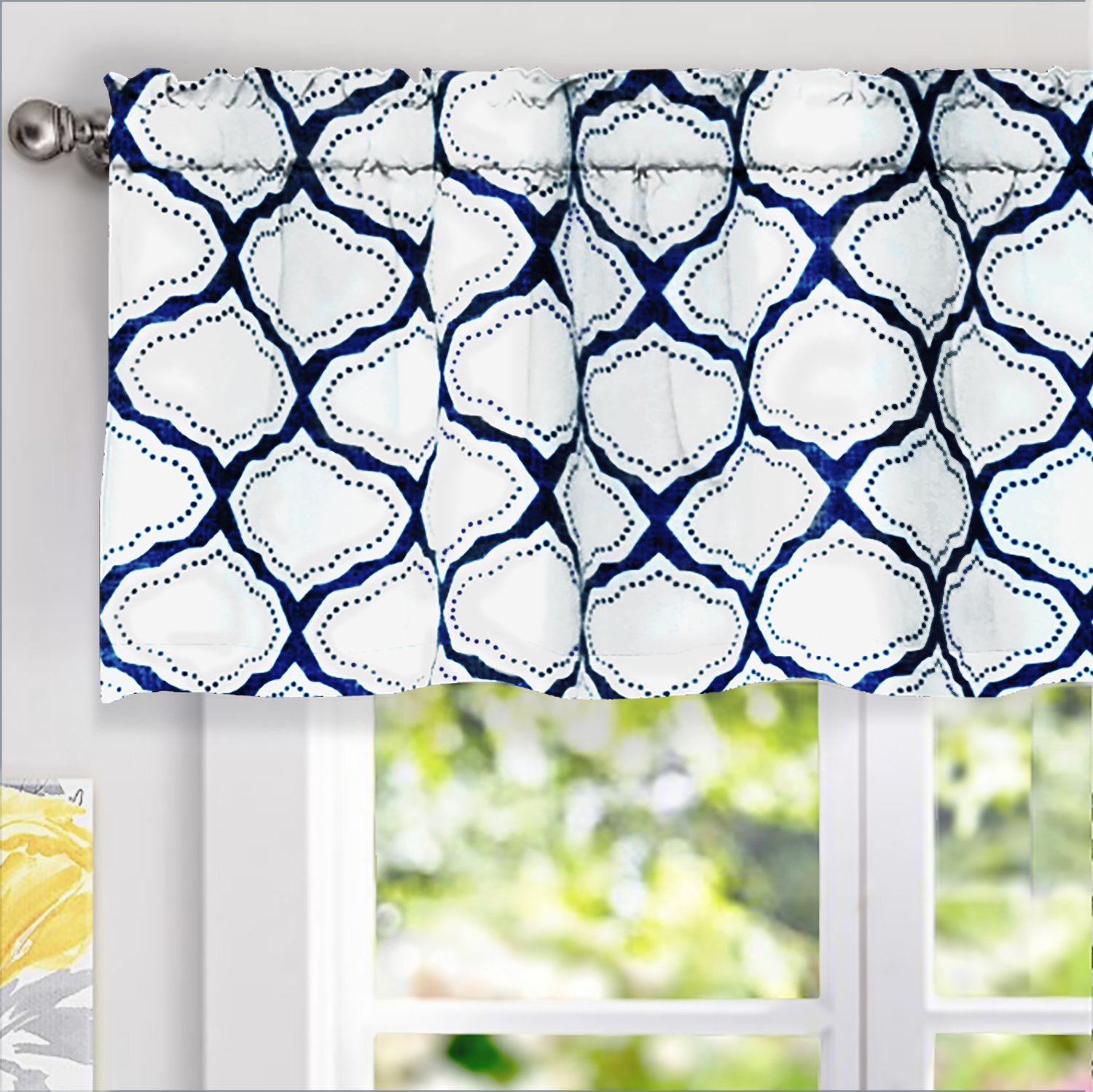 DriftAway Geo Trellis Room Darkening Window Curtain Valance, Rod Pocket Navy