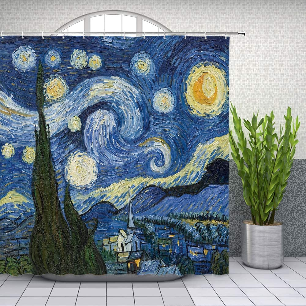 Oil Painting Shower Curtain Van Gogh Starry Sky Moon Abstract Art Bathroom Decor Waterproof Polyester Fabric Home Bath Supplies Curtains Sets Machine washable 69 x 70 Inch With Hooks Blue Yellow