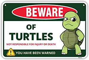 Venicor Beware of Turtles Sign - 8 x 12 Inches - Aluminum - Gift for Turtle Lovers -Turtle Tank Accessories - Turtle Aquarium Filter Habitat Basking Platform Dock Wall Decor Decorations Poster Stuff
