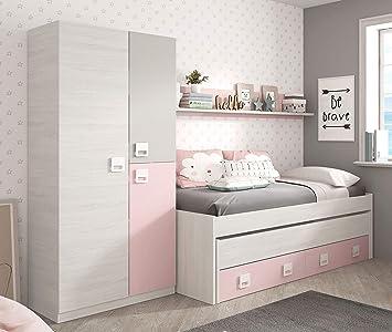 Miroytengo Pack Dormitorio Infantil Juvenil Cama Nido con Estante y Armario Color Rosa y Blanco sin somieres: Amazon.es: Hogar