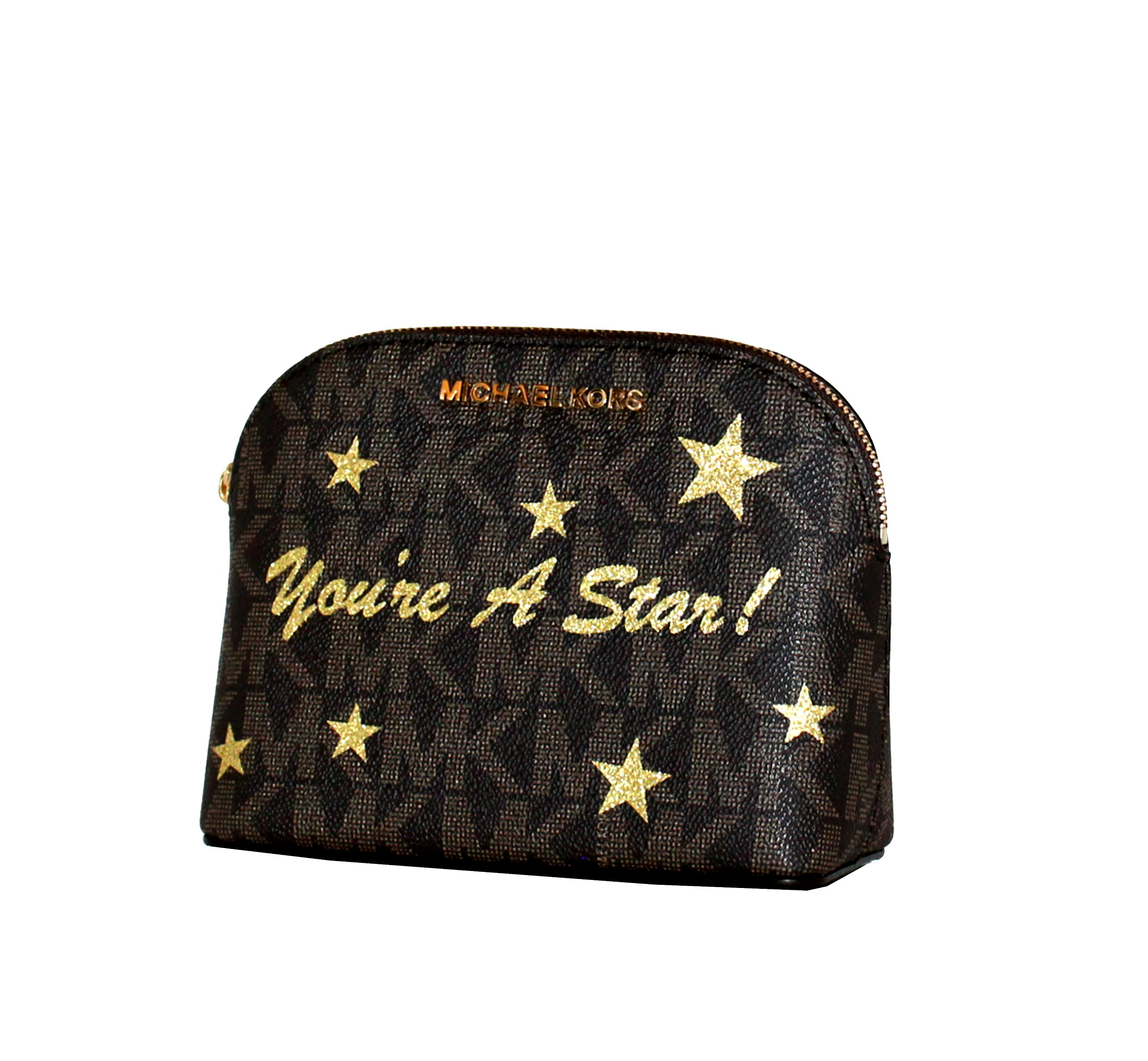 MICHAEL Michael Kors Women's CINDY Travel Pouch Money Holder Leather Bag (Brown/gold)