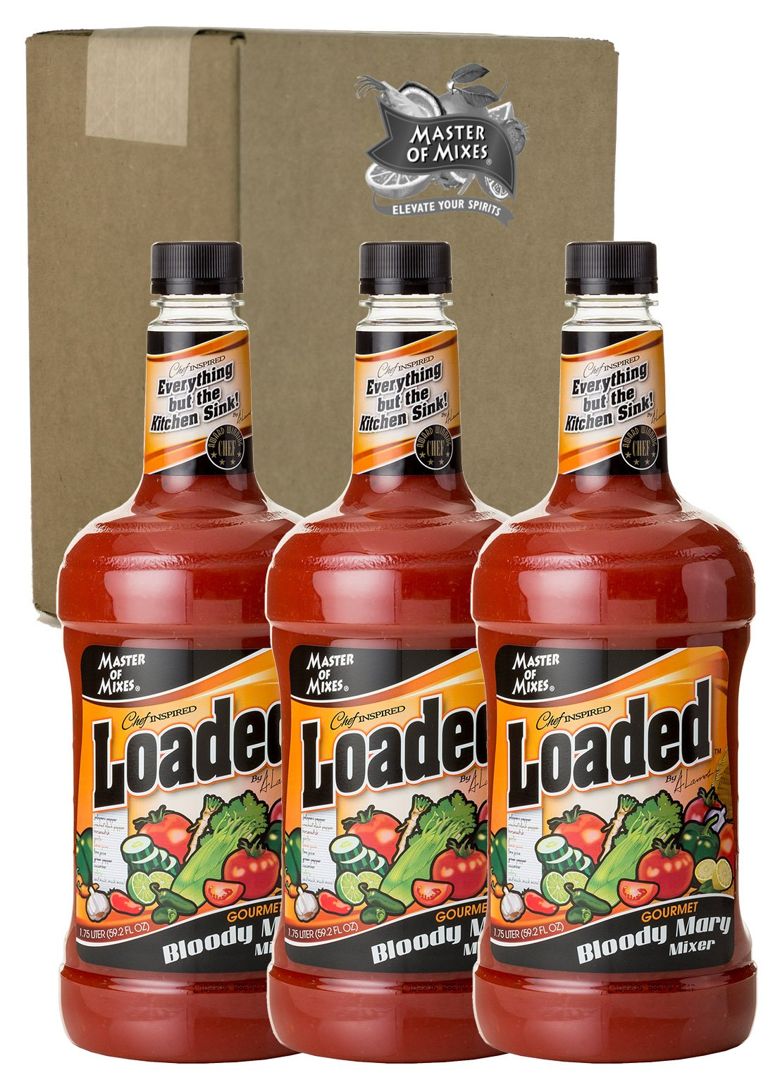 Master of Mixes Loaded Bloody Mary Drink Mix, Ready To Use, 1.75 Liter Bottle (59.2 Fl Oz), Pack of 3