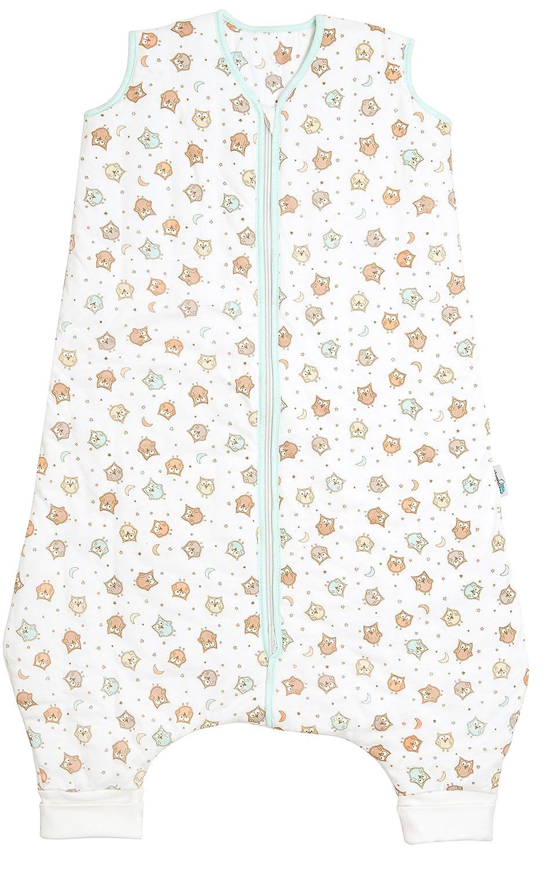 Schlummersack Schlafsack mit Beinen ungefüttert für den Sommer in 0.5 Tog - Eulen - 24-36 Monate/100 cm