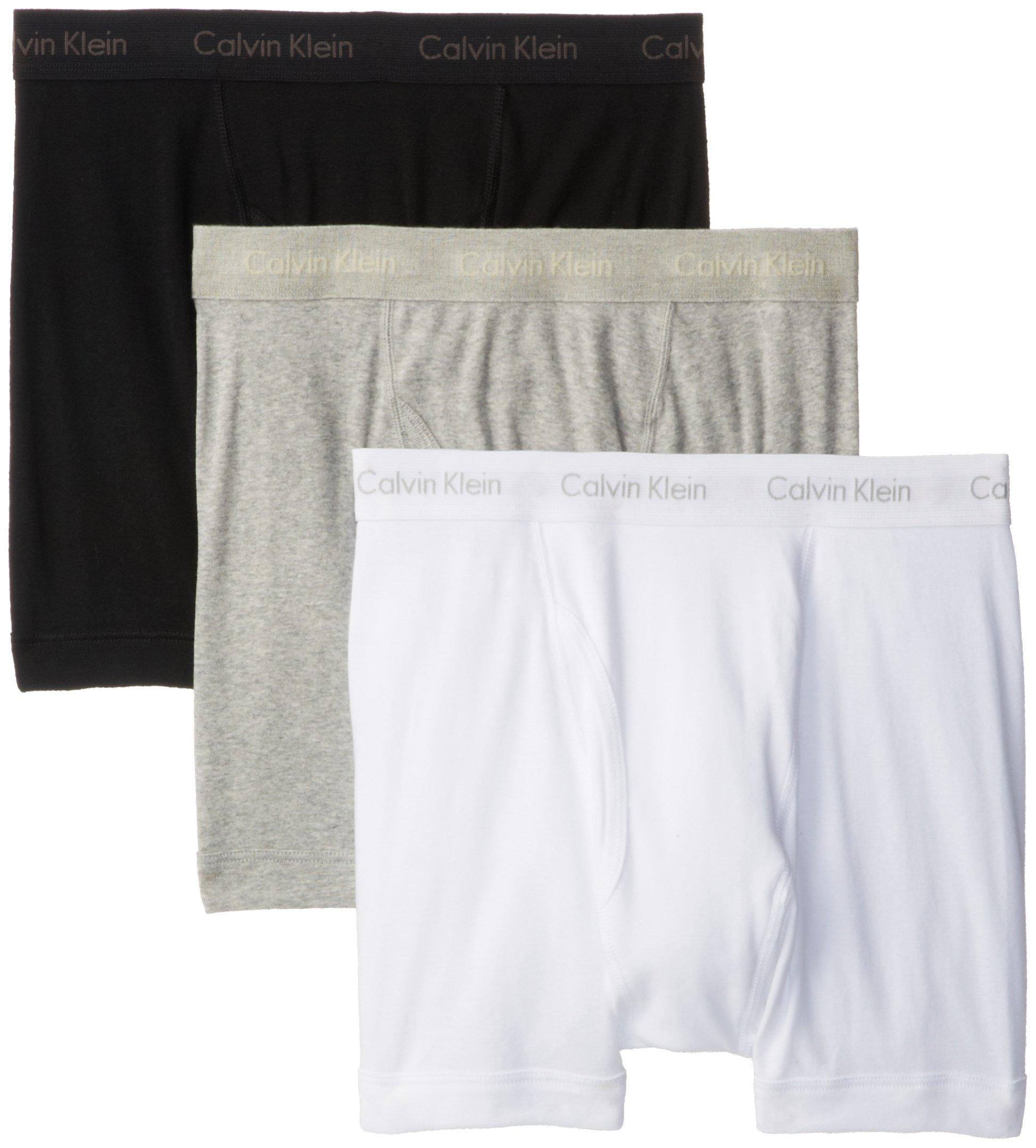 Calvin Klein Men's Underwear Cotton Classics Boxer Briefs - Large - White/Black/Grey (Pack of 3)