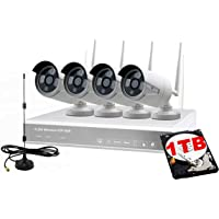 Tomvision Wireless CCTV Security House Camera System 4CH NVR Kits 1080P + 4 Pack1080P 2.0MP HD Antenna IP Network WiFi Camera Night Vision Remote Access Motion Detection(White+1TB)