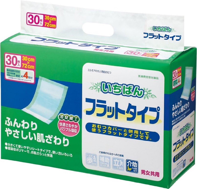 パワフル高吸収ポリマーが尿を吸収! 30×72cm!エルモアいちばんフラットタイプ30枚 12入(合せ) B00EFFT8N6