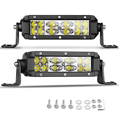 Slim LED Pods, Nirider 2PCS 72W CREE 5 Inch LED Light Bars Dual Row LED Work Lights Spot Flood Combo Driving Lights Off Road Fog Lights for Trucks Jeep Car SUV ATV UTV: Automotive