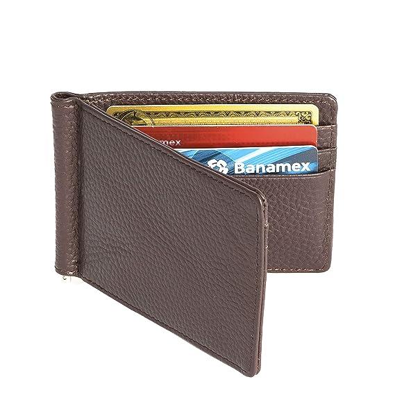 9a1c22e40 Vedicci Billetera de Piel Café con Money Clip para Hombre / Cartera de Piel  para Caballero.