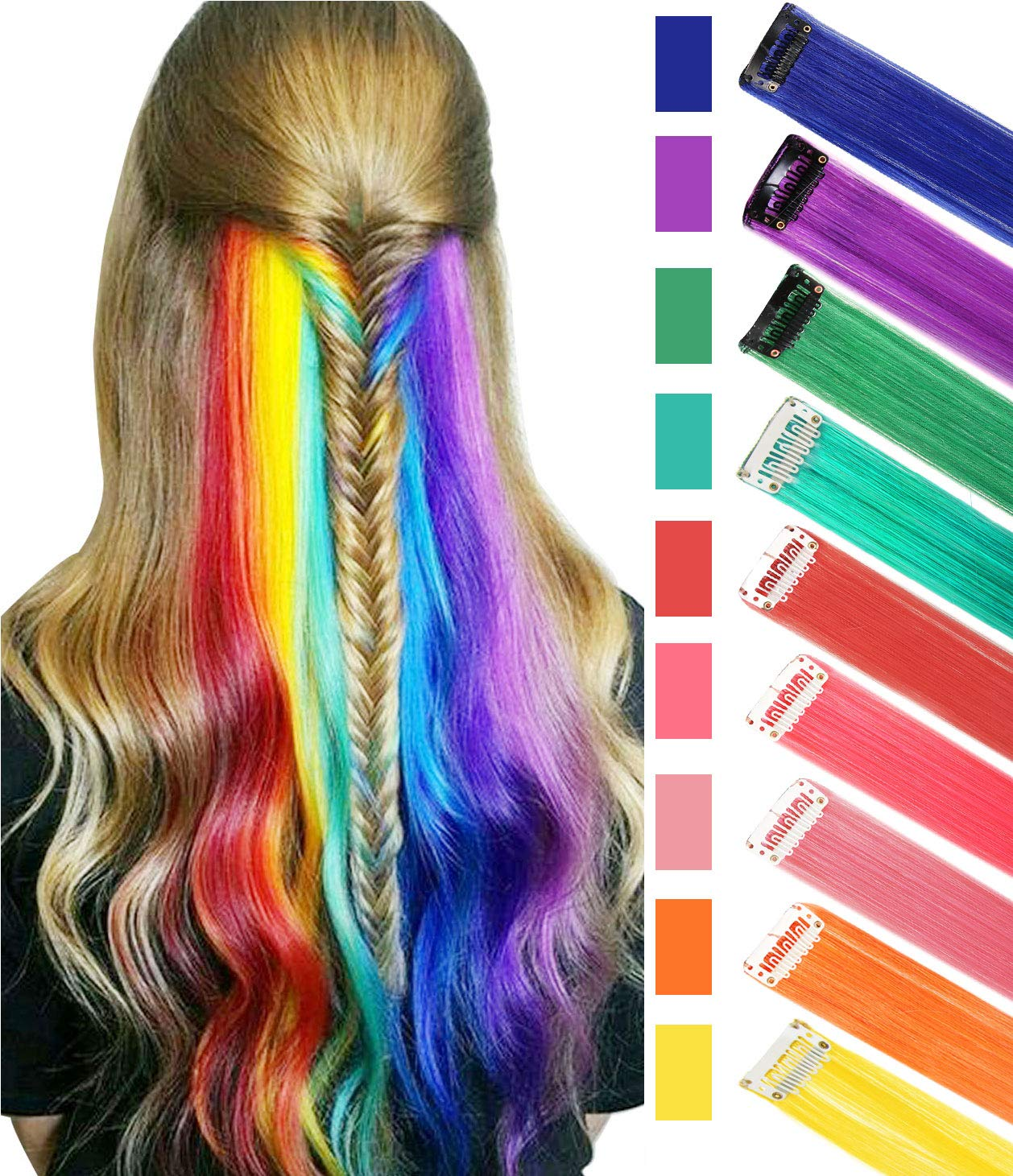 BINIHA Rainbow Hair Extensions Colored Party Highlights Straight Hair Extension Clip In/On For Amercian girls and Dolls Kids Costume Wig Pieces 9PCS by BINIHA