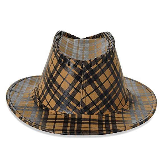 1bfe8780bddc34 Allure Mens Gold & Brown Fedora Hat: Amazon.in: Clothing & Accessories