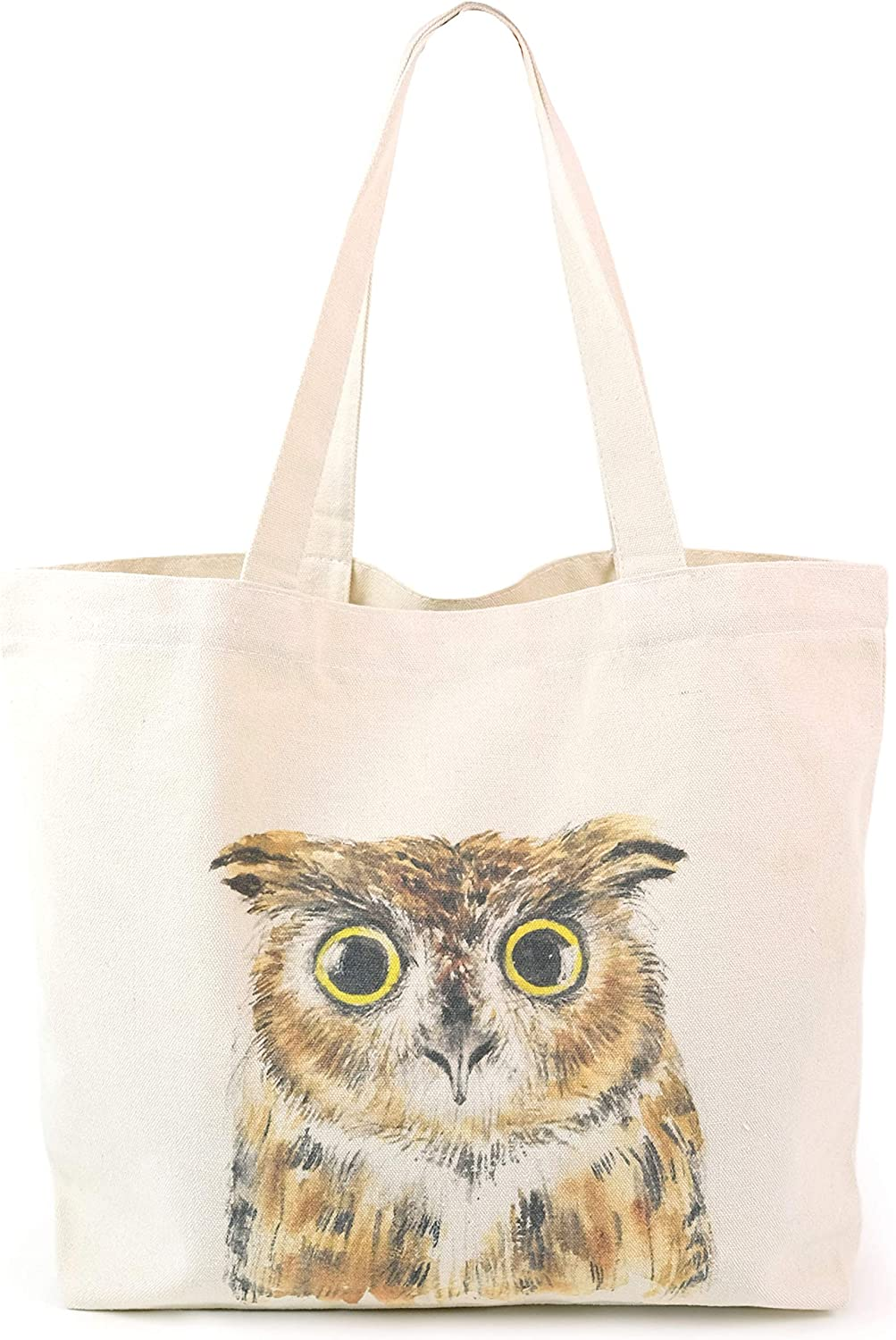 Animal Plants Canvas Tote Bag, Heavy Duty Gusseted, 100% Natural Cotton, for Shopping, Grocery, Laptop, School Books