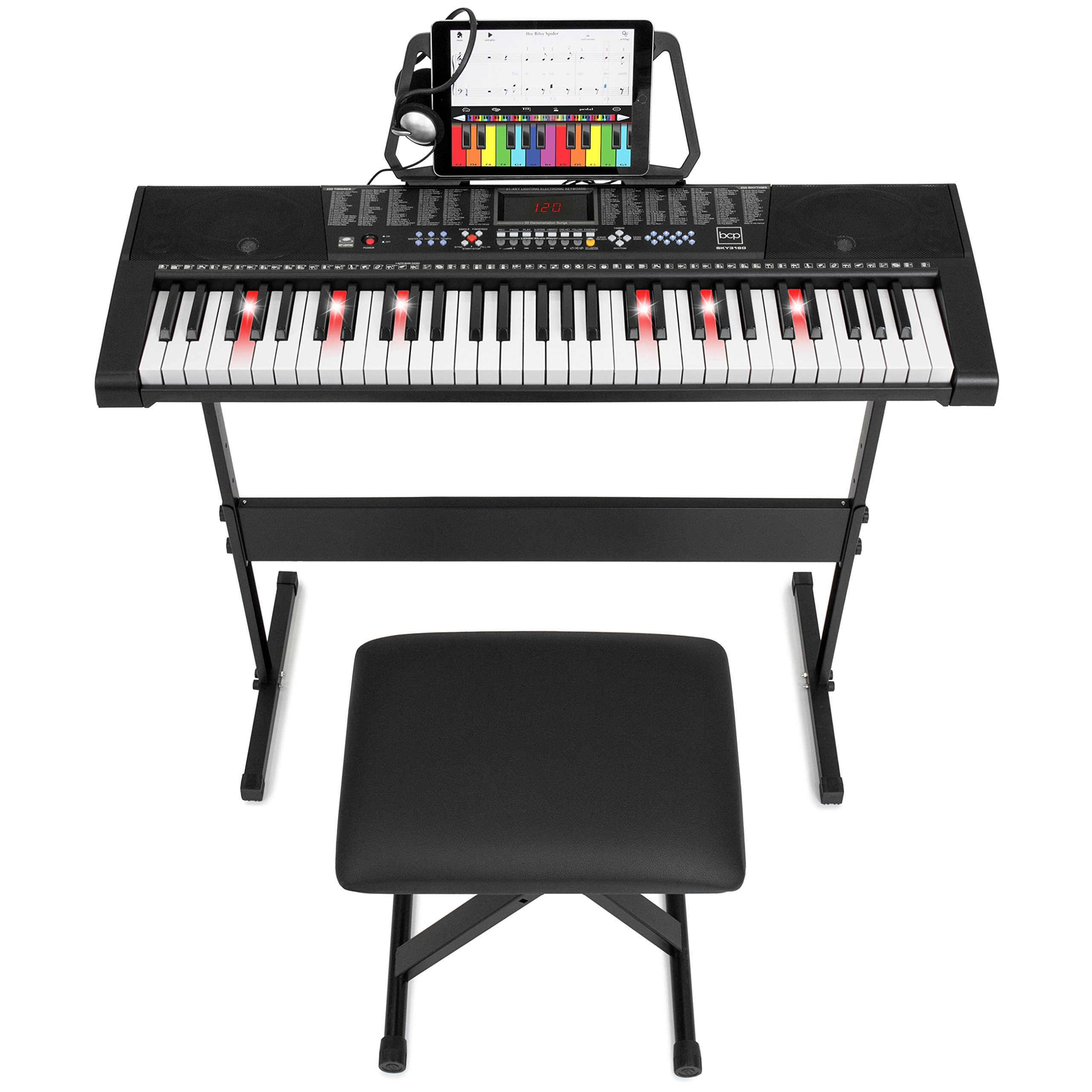 Best Choice Products Teaching Electronic Keyboard Piano Set, 61-Key w/ Adjustable H-Stand, Stool (Black) (Keyboard w/ Headphones) by Best Choice Products