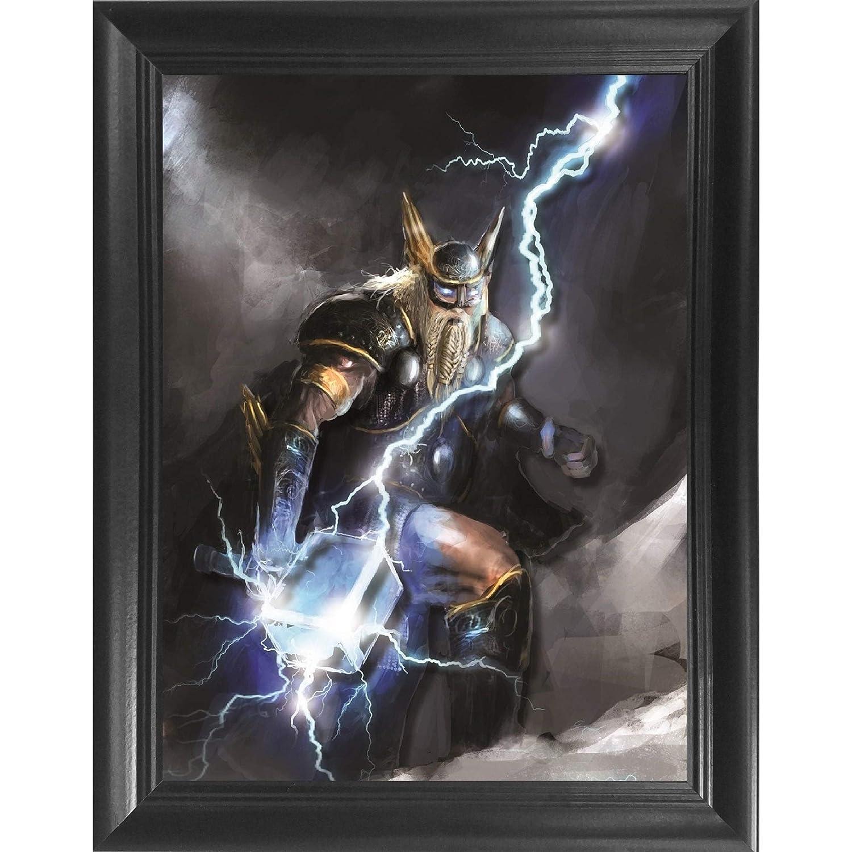 244e885367c54 Amazon.com  Thor s Lightning Hammer 3D Poster Wall Art Decor Framed ...