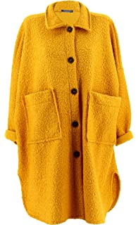 Charleselie94® - Manteau Femme Grande Taille Hiver Bouclette Moutarde Sonia  Jaune 80cd439f6b5c