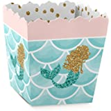 Let's Be Mermaids - Party Goodie Favor Boxes - Baby Shower or Birthday Party Treat Candy Boxes - Set of 12