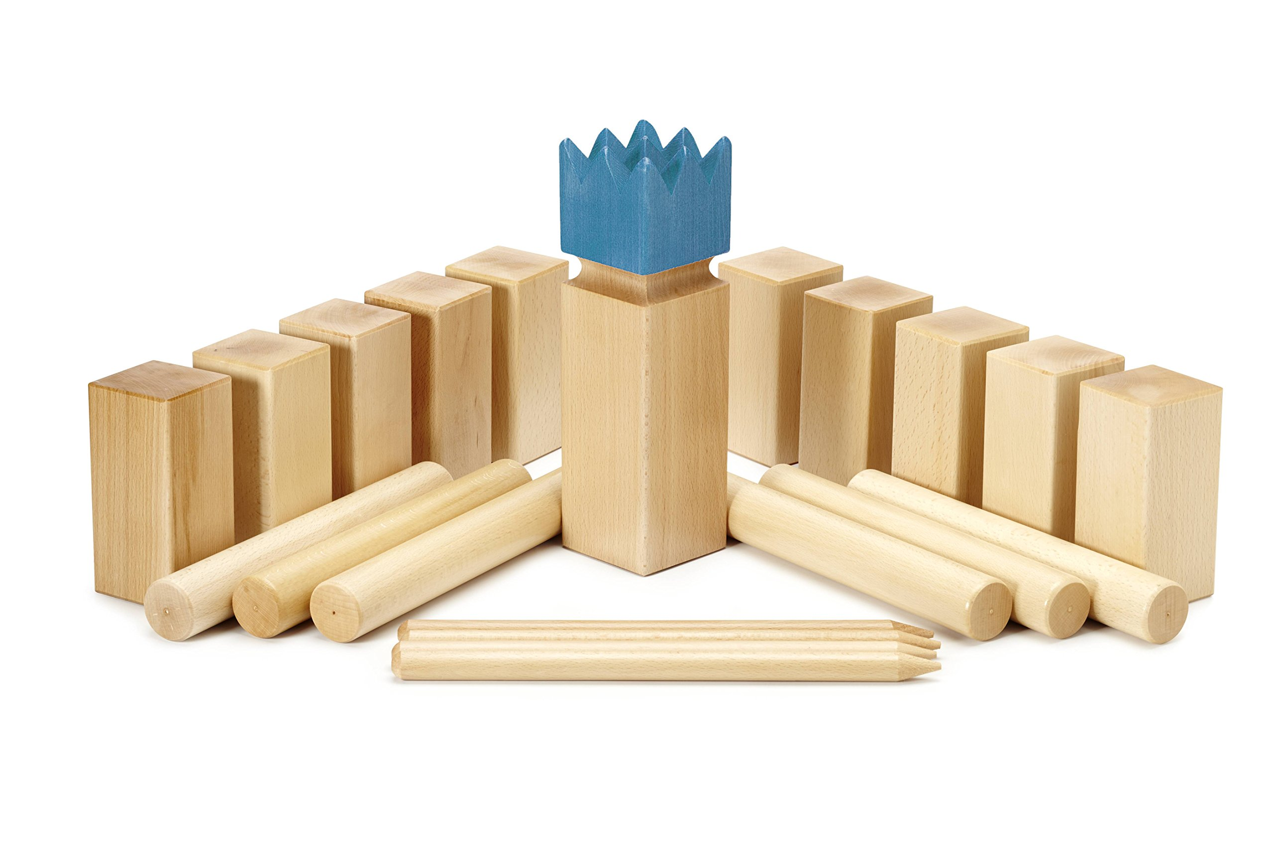 Kubbspel Classic Kubb Official U.S. Tournament Size Blue King (Made in Italy) Lawn Game 19.8 lbs.