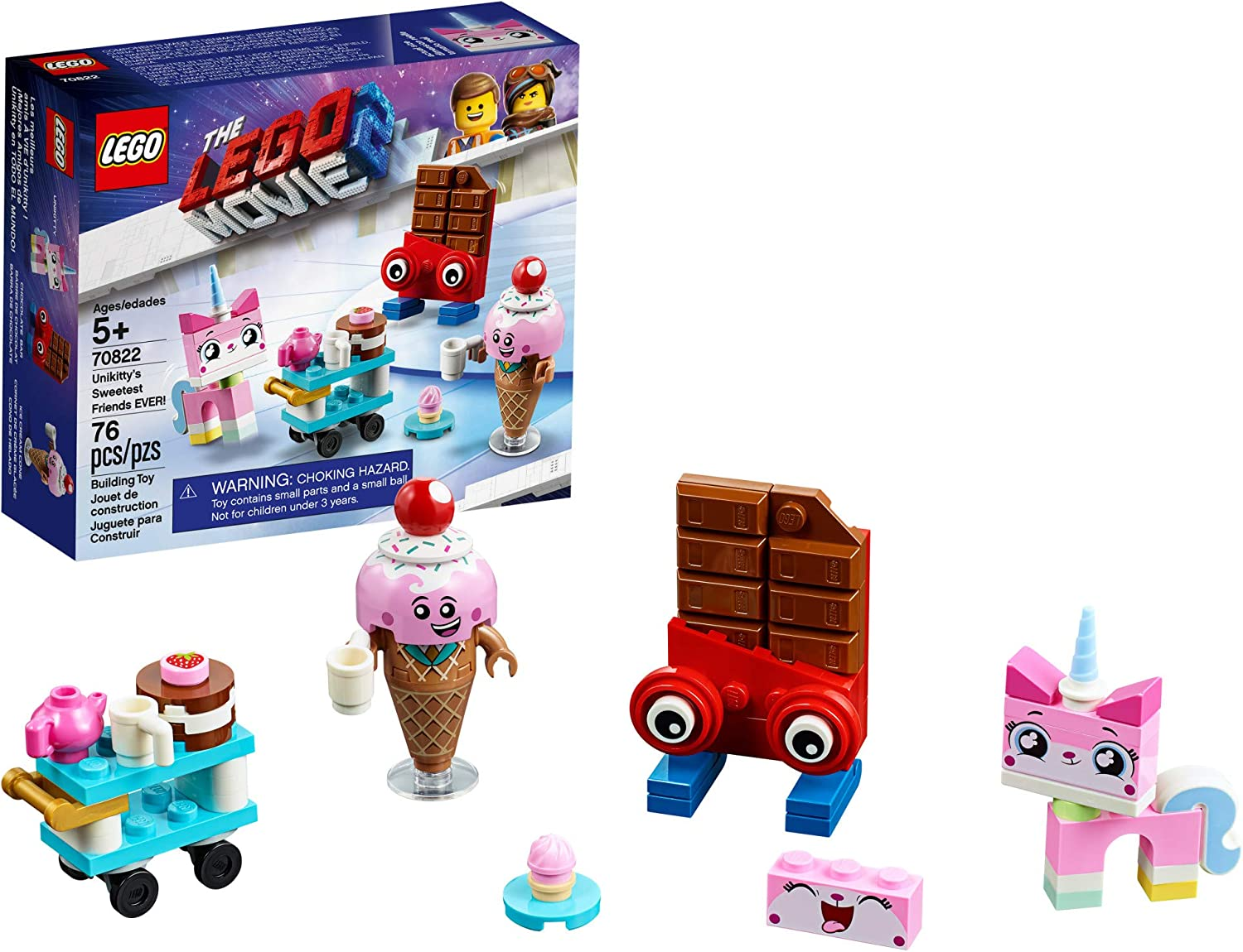 LEGO The LEGO Movie 2 Unikitty's Sweetest Friends EVER; 70822 Pretend Play Food and Friends Building Kit for Girls and Boys, Unikitty LEGO Set (76 Pieces)