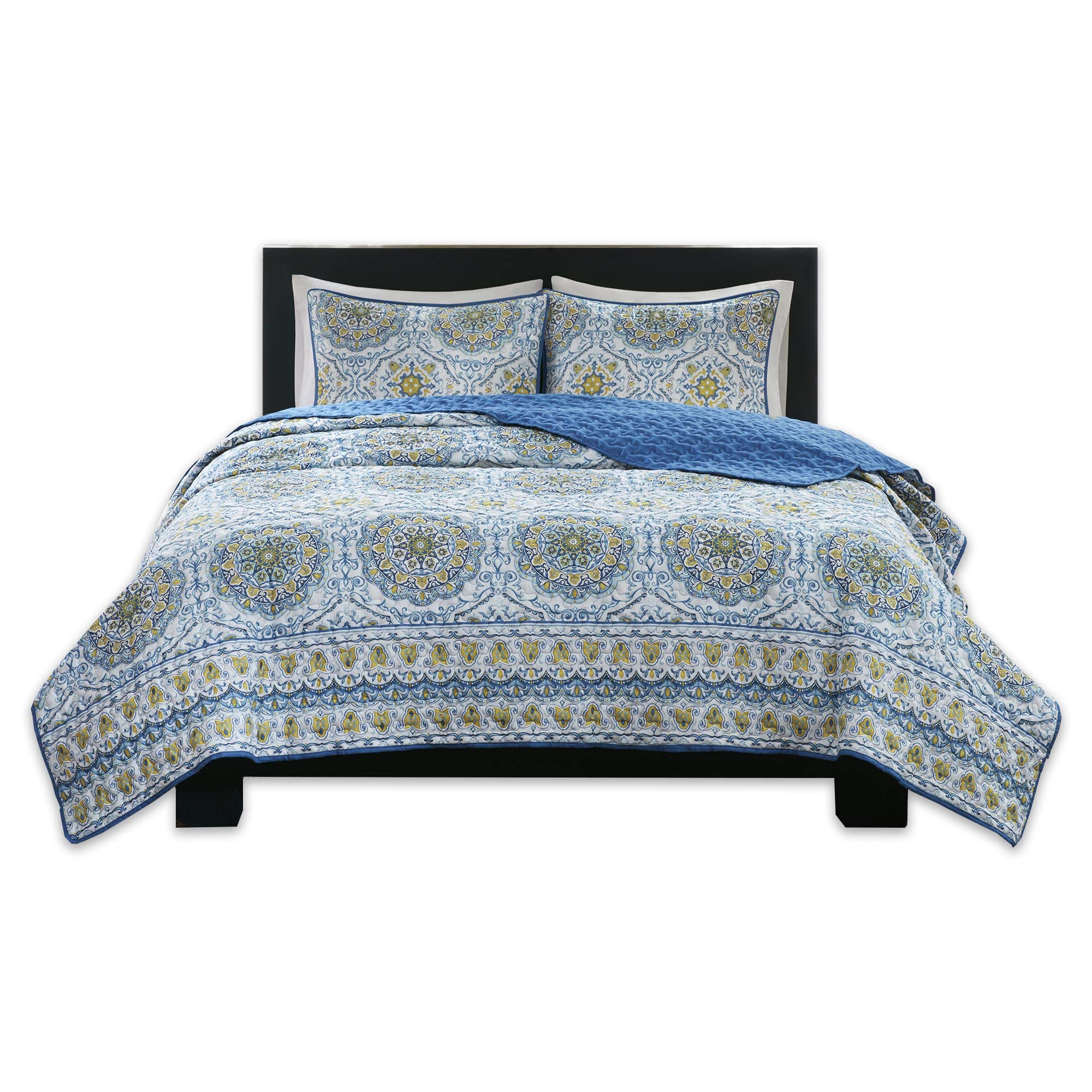 Home Essence Taya 3 Piece King Quilt Set Reversible Solid Printed Medallions Pattern Light-Weight Rustic Coverlet Soft Microfiber Bedding for All Season, Blue by Home Essence (Image #1)