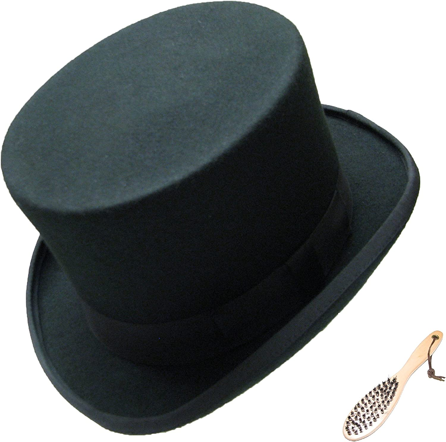 viz-uk wear 100/% Wool Black Top Hat with Clening Brush Wedding Event Ascot Satin Lined Topper