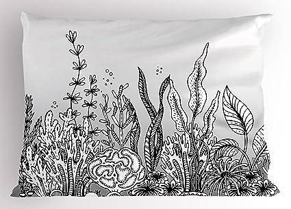 Ocean Pillow Sham By Ambesonne Monocromatico Mano Illustrazione
