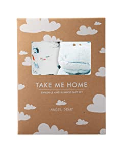 Angel Dear Swaddle and Blankie Gift Set, Sharks with Blue Hippo
