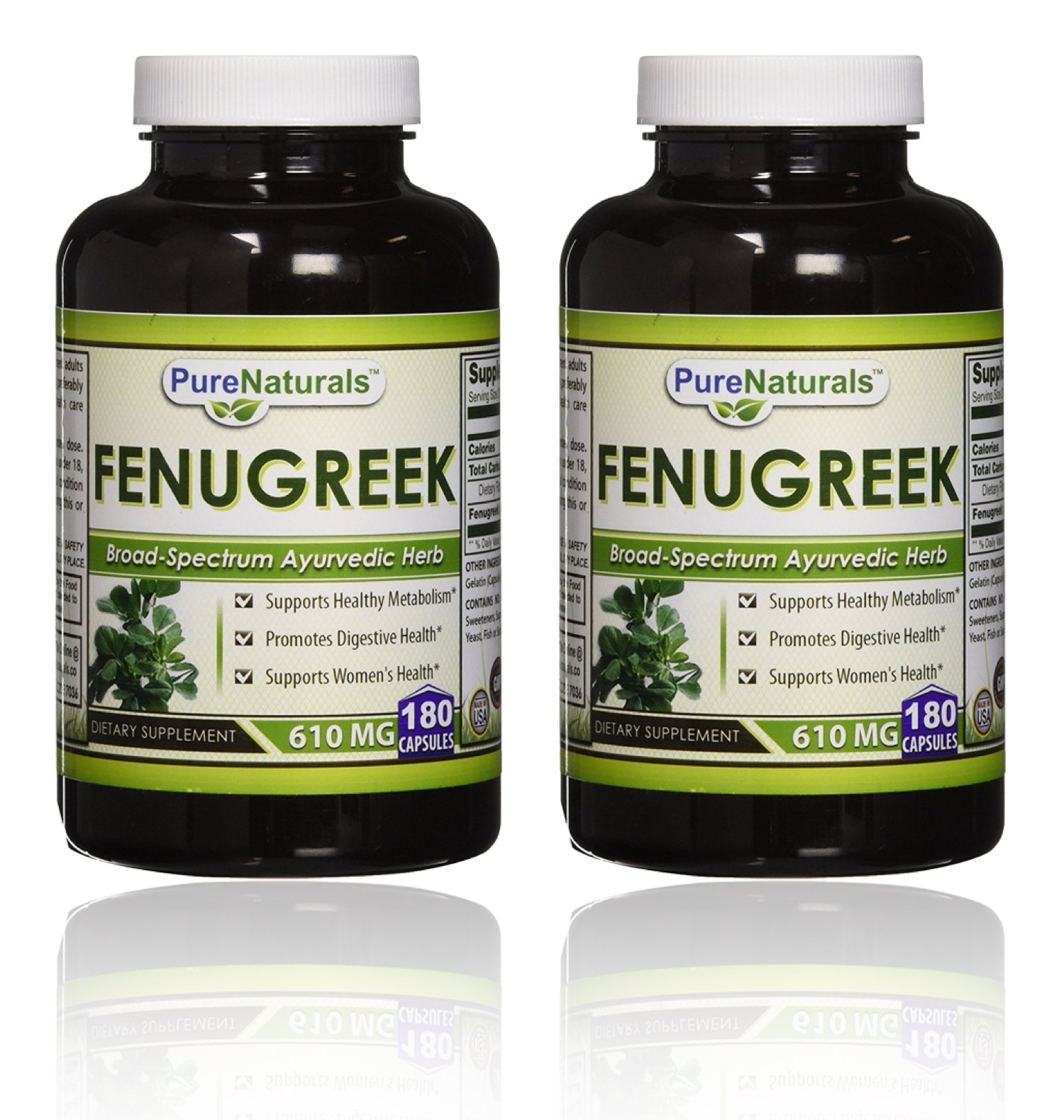 Pure Naturals Fenugreek Seed, 610 Mg, 180 Count - 2 Pack