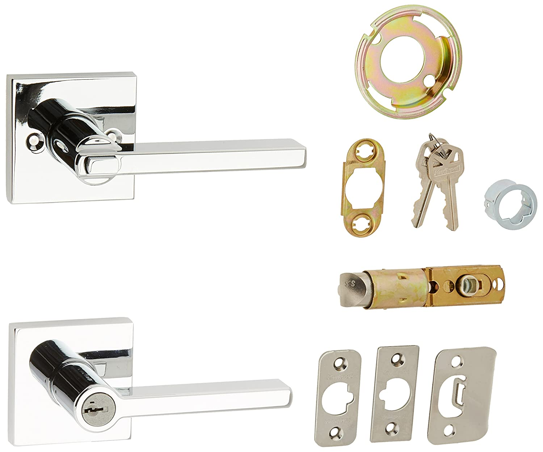 Kwikset 156HFLSQT-26S Halifax Square Entry Door Lock Smart Key Bright Chrome Finish 156HFLSQT-15S