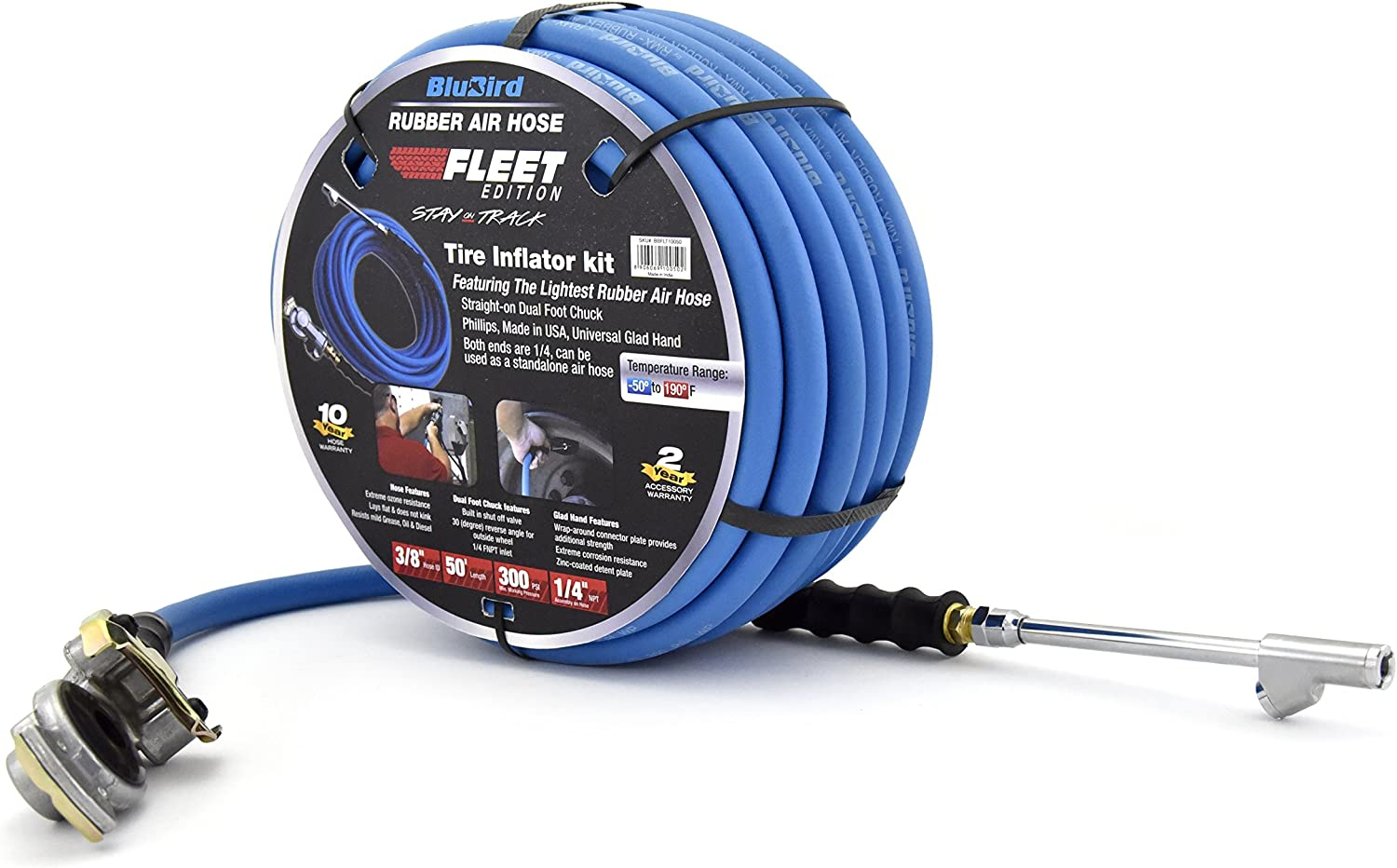 "Air Hose BluBird 3//8/"" x 25/' Heavy Duty 100/% Rubber Air Hose 10 Yr Warranty"