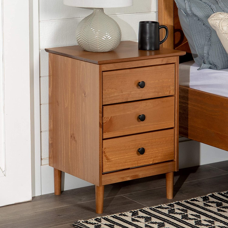 "WE Furniture AZR3DNSCA Nightstand 19"" L x 15"" W x 25"" H Caramel"