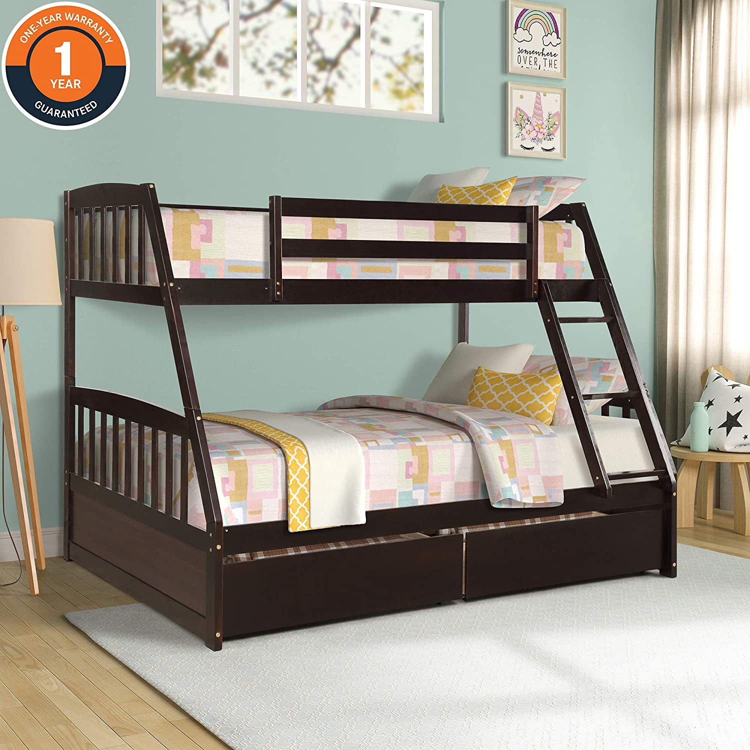 Solid Wood Twin Over Full Bunk Bed, with Two Storage Drawers and Removable Ladder, Bed Platform Frame for Kids, Teens, Guest Rooms