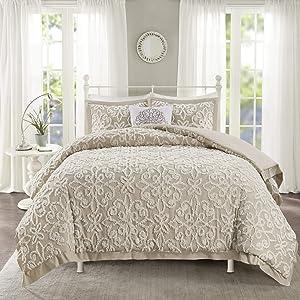 Madison Park Tufted Chenille 100% Cotton Comforter All Season Bedding Set, Matching Shams, Full/Queen(90