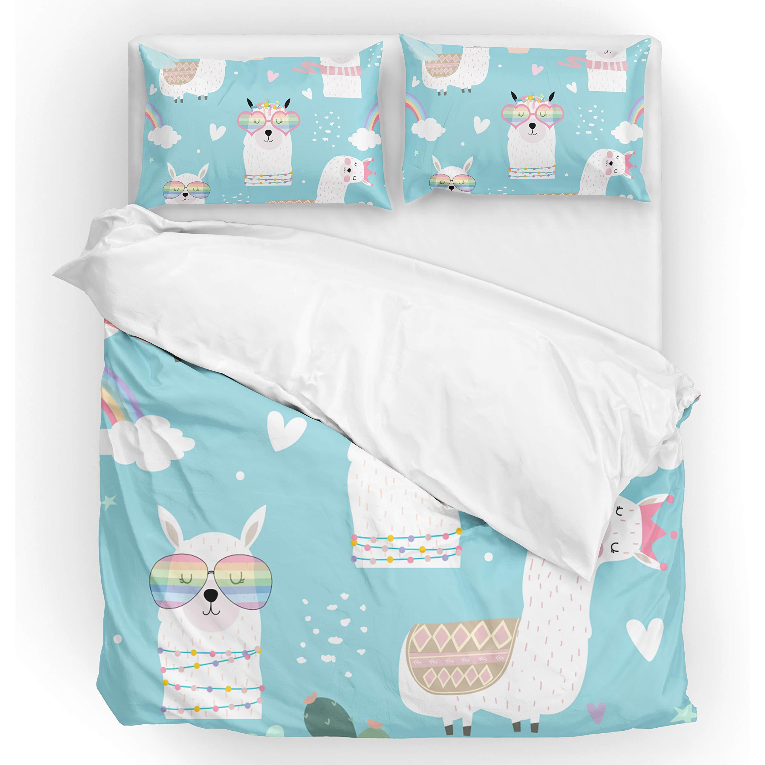 U LIFE Bedding Duvet Cover Set Queen Size 3 Piece Set 1 Quilt Cover and 2 Pillow Cases Shams Cute Llamas Camel Rainbow Blue for Kid Boy Girl Women Men