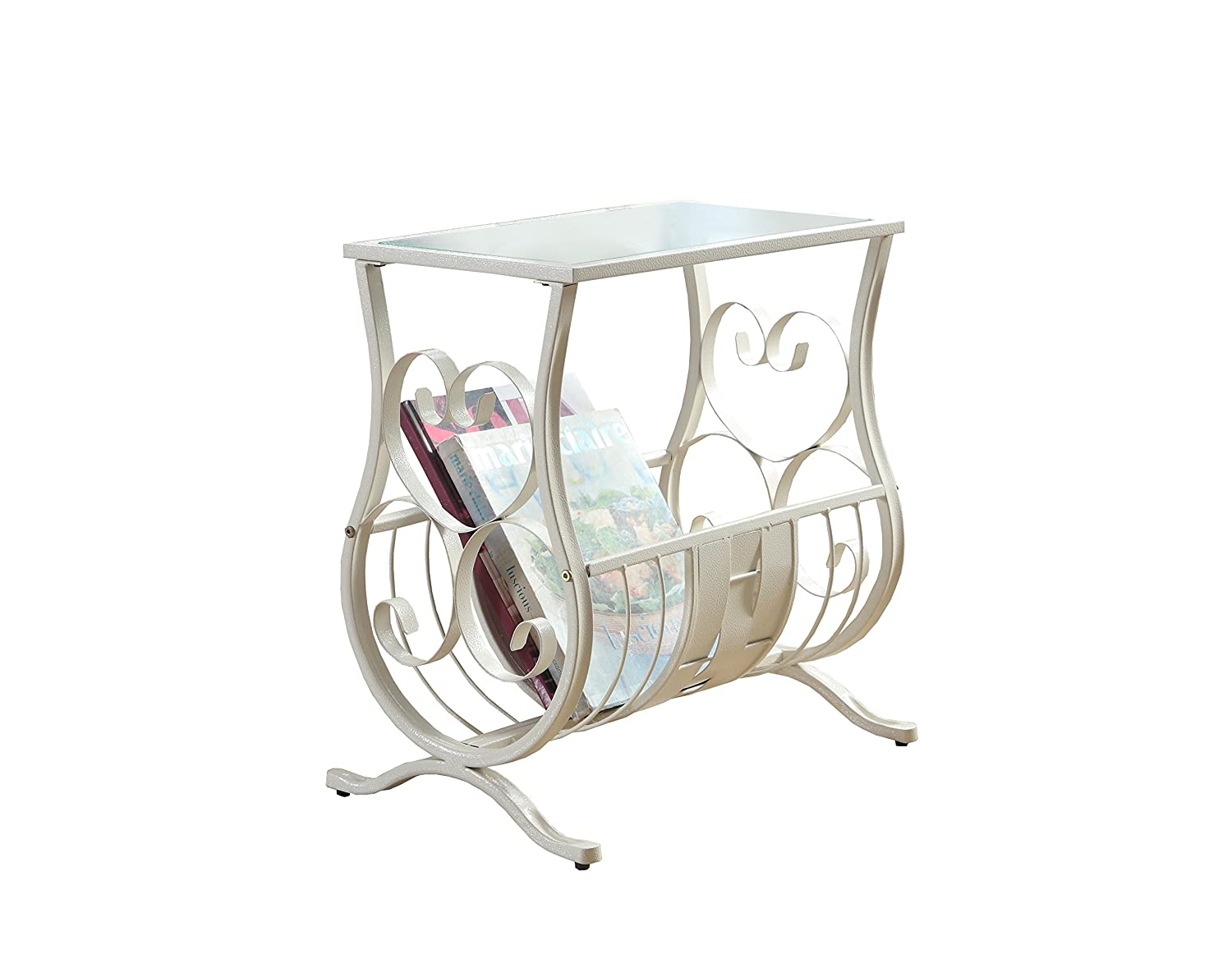 Monarch Specialties I 3312 Antique White Metal Magazine Table with Tempered Glass
