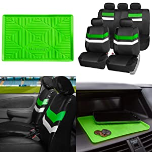 FH GROUP PU006115 Varsity Spirit PU Leather Seat Covers, Airbag & Split Ready w. FH3011 Silicone Anti-slip Dash Mat, Green / Black Color