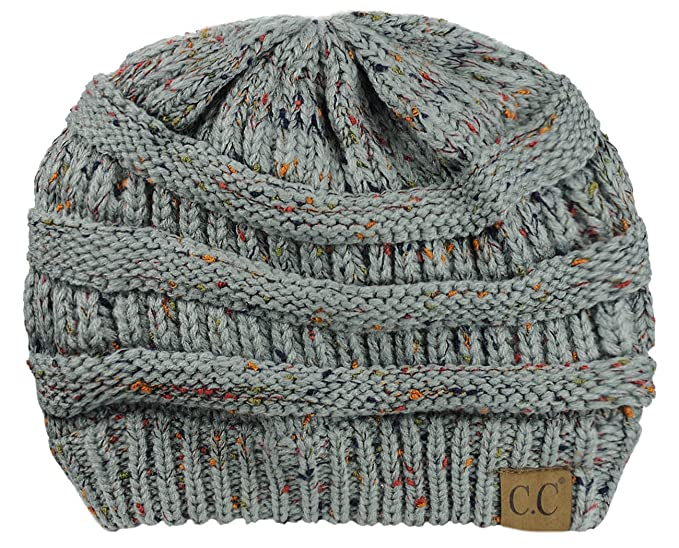 4fdc581b5b7c9 C.C NYfashion101 Exclusive Colorful Confetti Soft Stretch Cable Knit Slouch  Beanie - Natural Gray