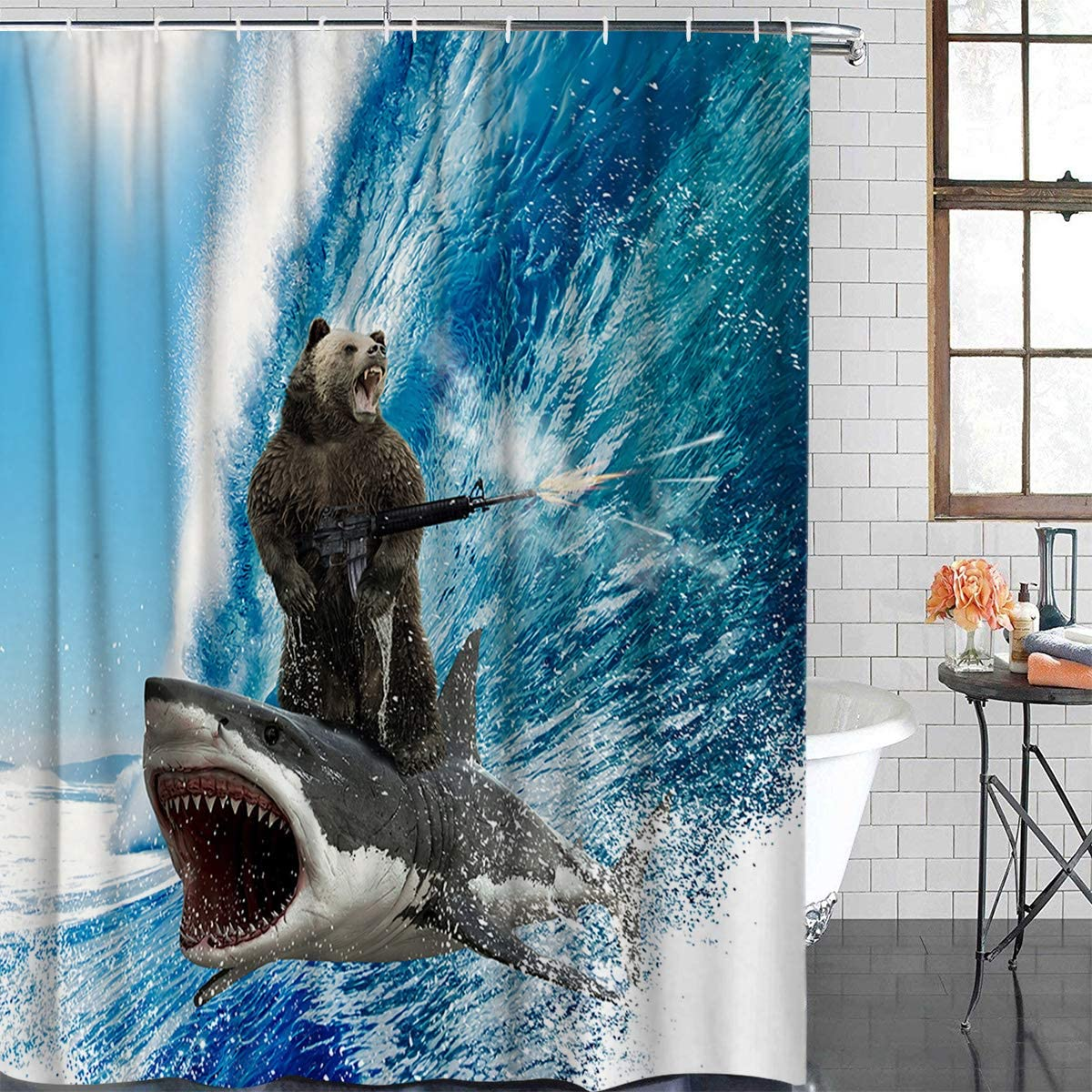Xspring Shower Curtain Funny Bear with Machine Gun and Shark Surfing Ocean Wave 60 x 72inch Decorative Waterproof Machine Washable Bathroom Curtains, Hooks Included