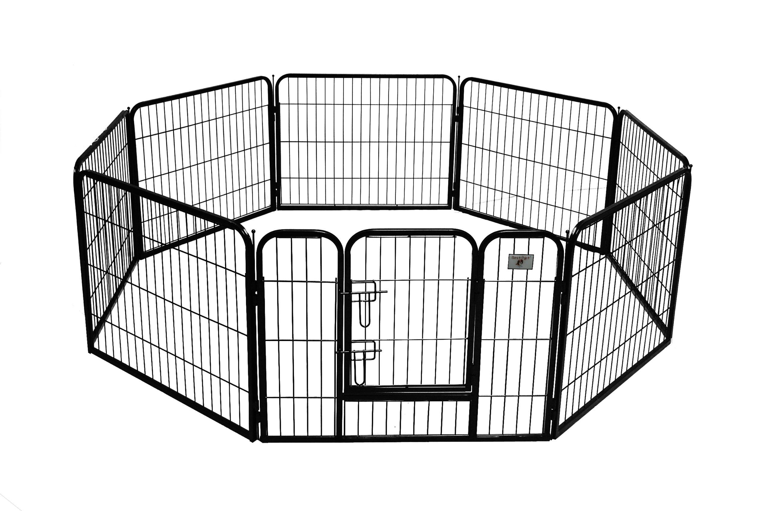 BestPet Heavy Duty Pet Playpen Dog Cat Fence B Exercise Pen, 24-Inch, Black by BestPet