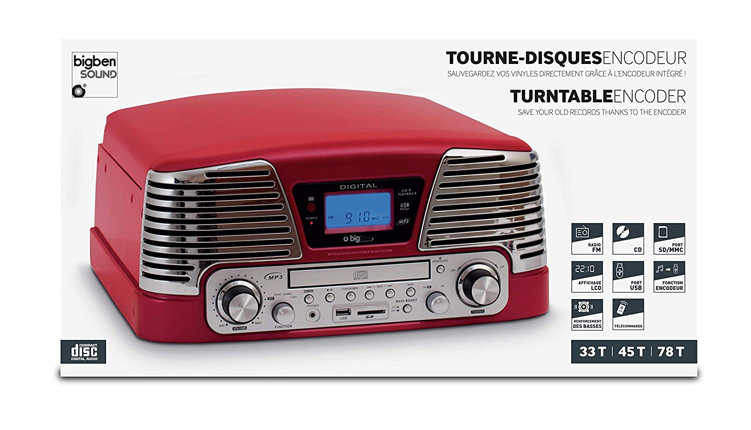 BigBen TD79 II - Tocadiscos para equipo de audio (LCD, USB, 3.5 mm), color rojo: Amazon.es: Electrónica