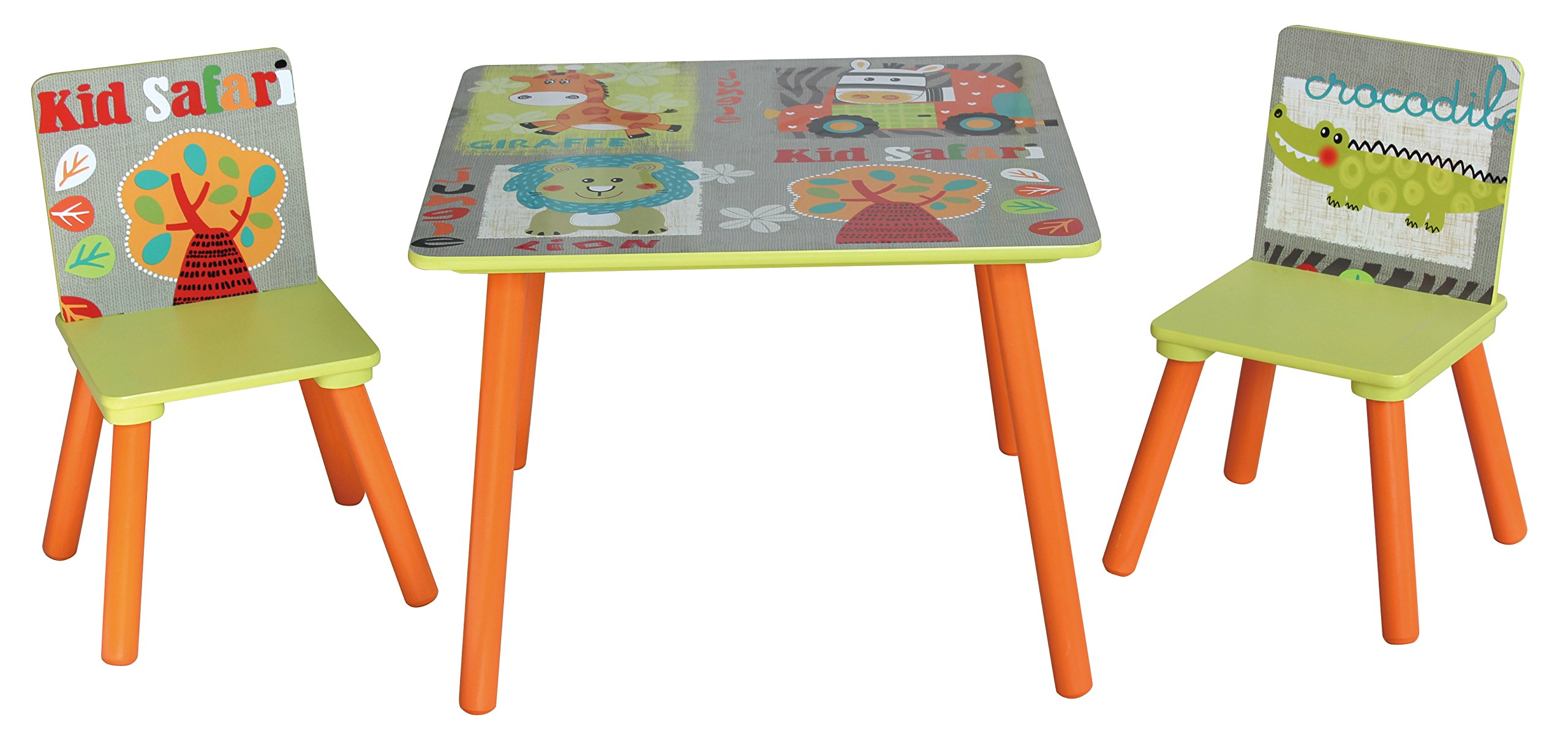 Liberty House Toys Wooden Table and Chairs Set, Engineered Wood, Multicoloured, 44 H x 60cm W x 60 D
