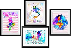 Uhomate 4 pcs Set Princess Ariel The Mermaid Abstract Art Canvas Wall Art Baby Gift Inspirational Quotes Wall Decor for Living Room Wall Decorations for Bedroom M029 (8X10)