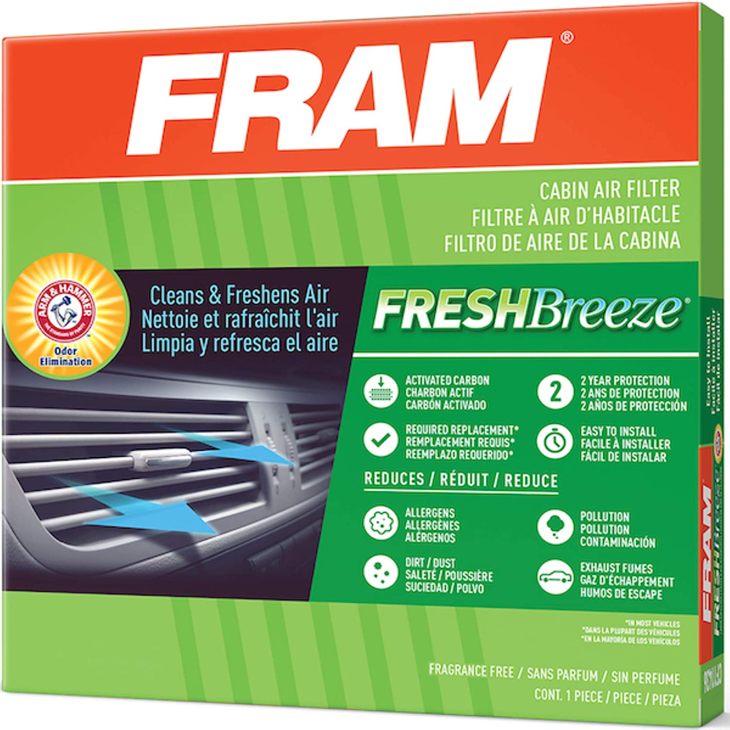 FRAM Fresh Breeze Cabin Air Filter with Arm & Hammer Baking Soda, CF10373 for Audi/Volkswagen Vehicles