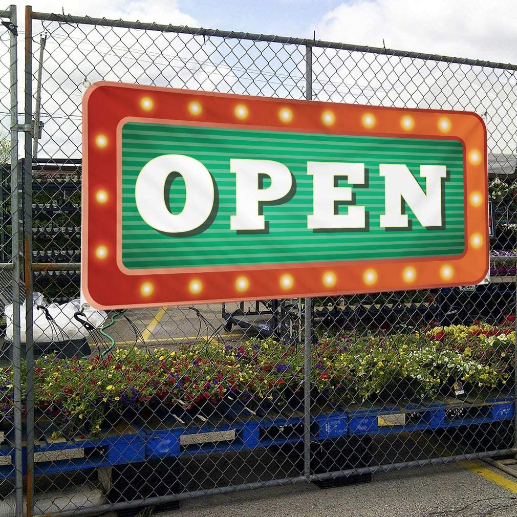 Vinyl Banner Sign Open Business Style B Business Open Marketing Advertising Green 4 Grommets Set of 3 Multiple Sizes Available 24inx60in