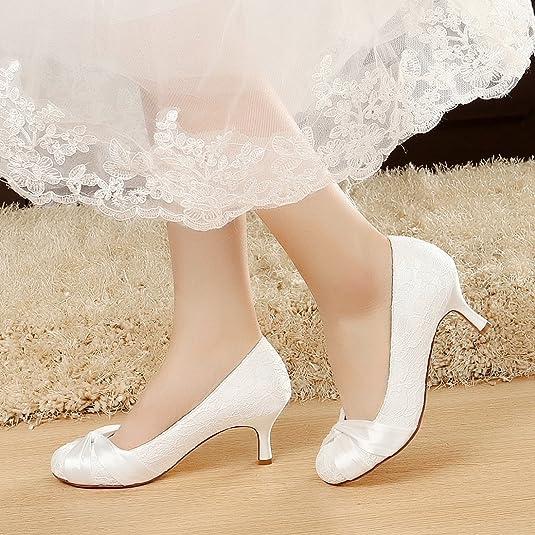 YOOZIRI Wedding Shoes, Bridal Shoes, Women Shoes, White Lace Shoes Low  Kitten Heel 2 Inch: Amazon.co.uk: Shoes U0026 Bags